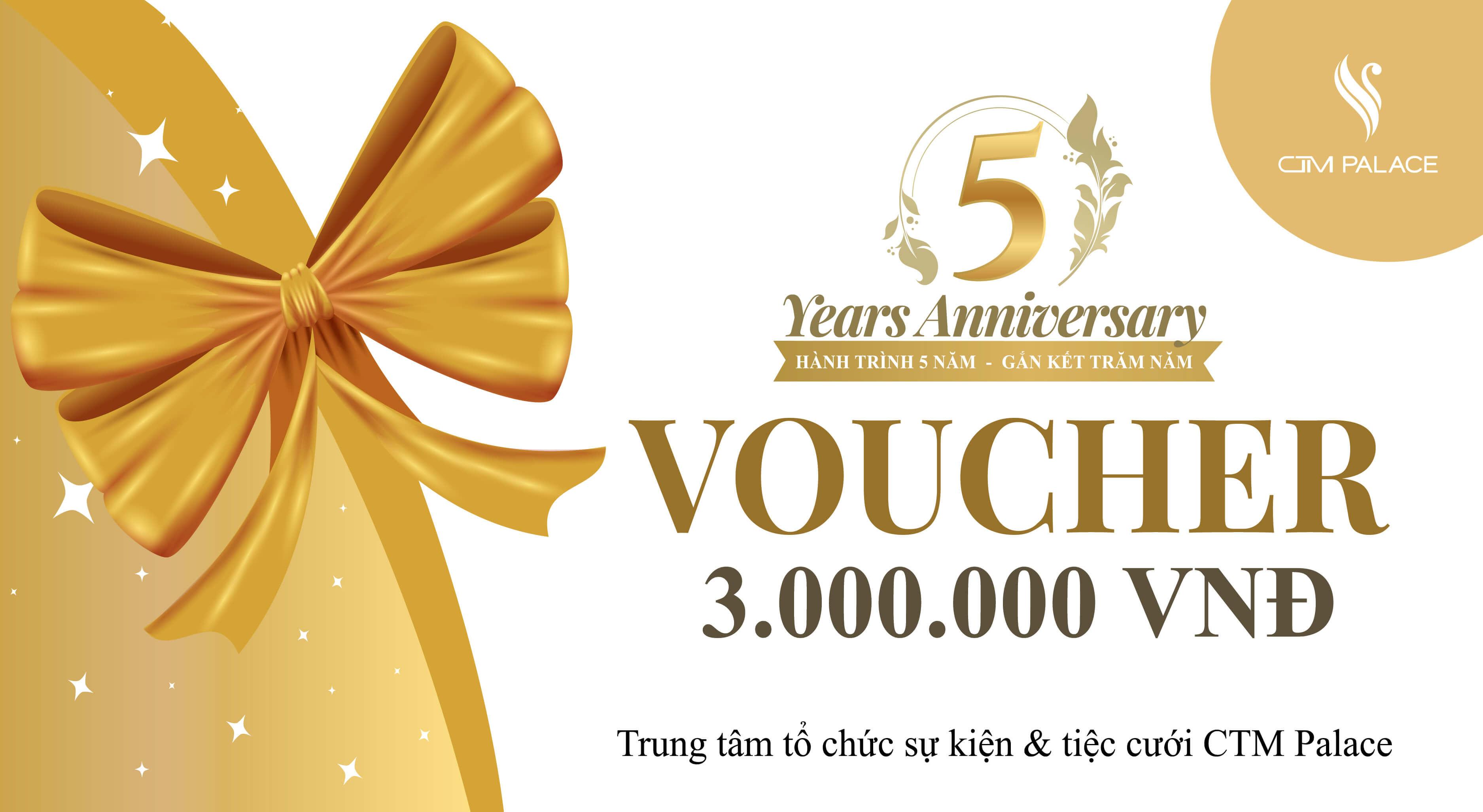 Tặng voucher 3.000.000VNĐ kỷ niệm sinh 5 năm CTM Palace